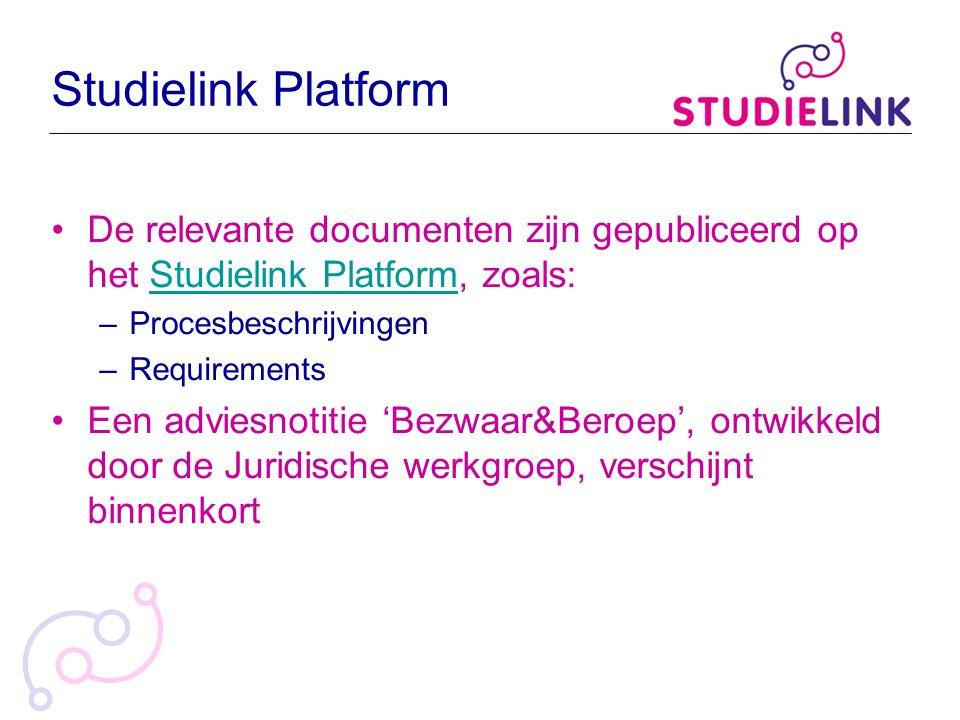 Studielink Platform De relevante documenten zijn gepubliceerd op het Studielink Platform, zoals:Studielink Platform –Procesbeschrijvingen –Requirement