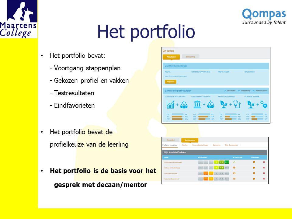 Het portfolio Het portfolio bevat: - Voortgang stappenplan - Gekozen profiel en vakken - Testresultaten - Eindfavorieten Het portfolio bevat de profie