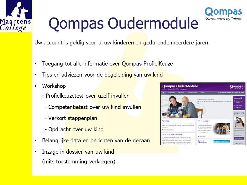 Qompas Oudermodule Uw account is geldig voor al uw kinderen en gedurende meerdere jaren. Toegang tot alle informatie over Qompas ProfielKeuze Tips en