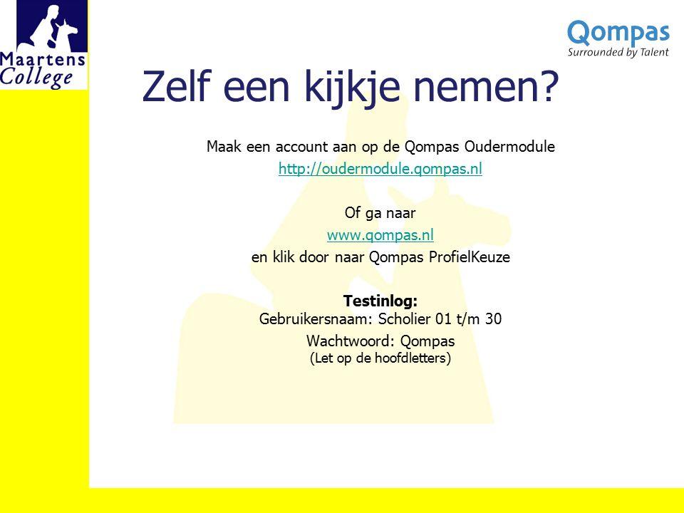Zelf een kijkje nemen? Maak een account aan op de Qompas Oudermodule http://oudermodule.qompas.nl Of ga naar www.qompas.nl en klik door naar Qompas Pr