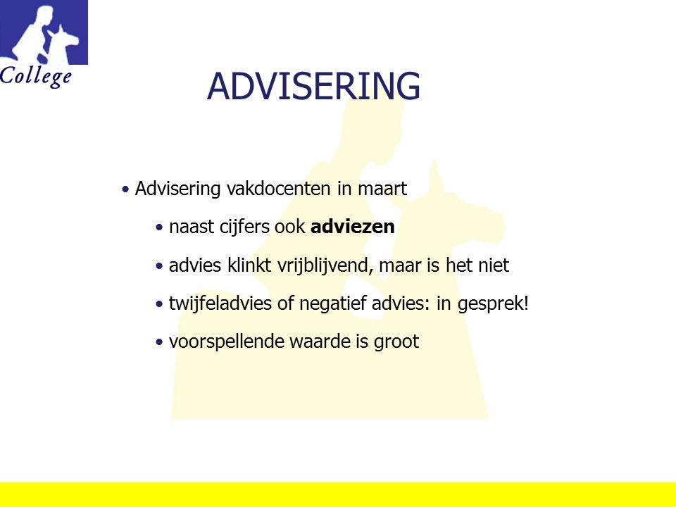 ADVISERING Advisering vakdocenten in maart naast cijfers ook adviezen advies klinkt vrijblijvend, maar is het niet twijfeladvies of negatief advies: i