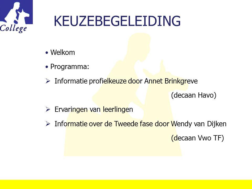 KEUZEBEGELEIDING Welkom Programma:  Informatie profielkeuze door Annet Brinkgreve (decaan Havo)  Ervaringen van leerlingen  Informatie over de Twee