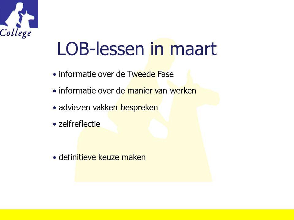LOB-lessen in maart informatie over de Tweede Fase informatie over de manier van werken adviezen vakken bespreken zelfreflectie definitieve keuze make