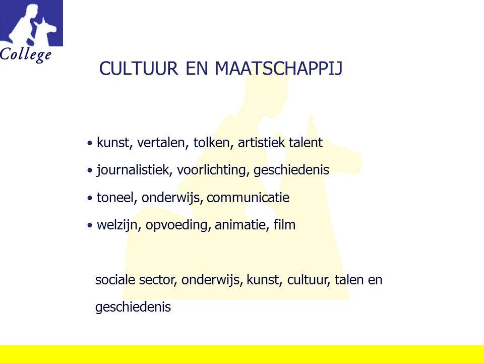 CULTUUR EN MAATSCHAPPIJ kunst, vertalen, tolken, artistiek talent journalistiek, voorlichting, geschiedenis toneel, onderwijs, communicatie welzijn, o