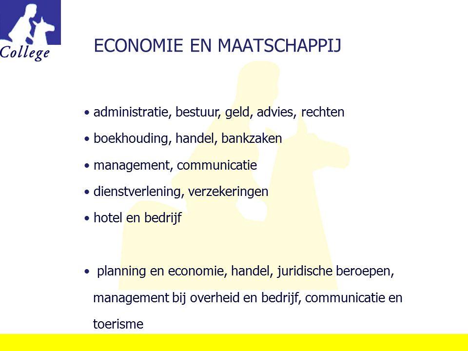 ECONOMIE EN MAATSCHAPPIJ administratie, bestuur, geld, advies, rechten boekhouding, handel, bankzaken management, communicatie dienstverlening, verzek