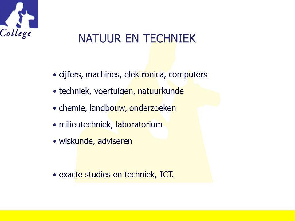 NATUUR EN TECHNIEK cijfers, machines, elektronica, computers techniek, voertuigen, natuurkunde chemie, landbouw, onderzoeken milieutechniek, laborator