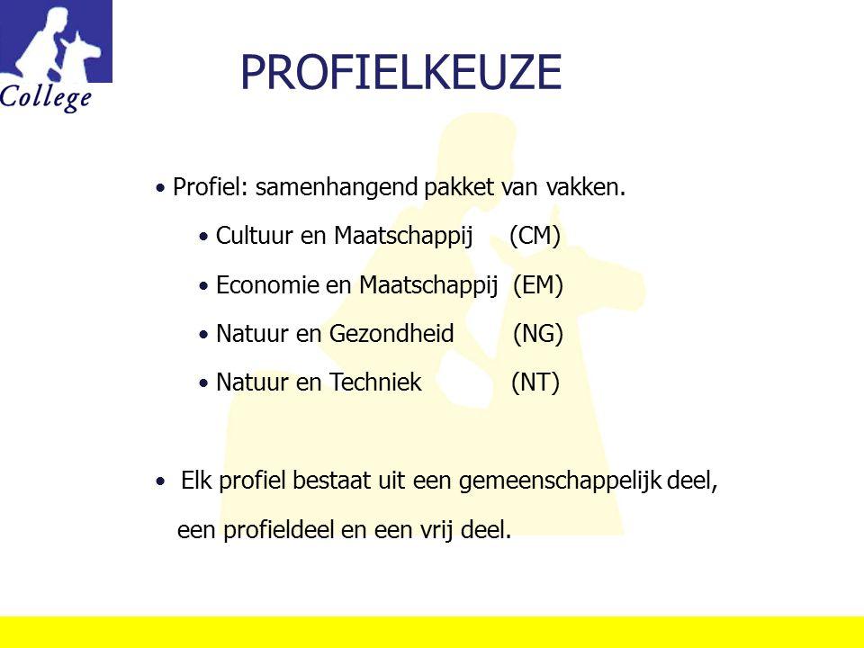 PROFIELKEUZE Profiel: samenhangend pakket van vakken. Cultuur en Maatschappij (CM) Economie en Maatschappij (EM) Natuur en Gezondheid (NG) Natuur en T
