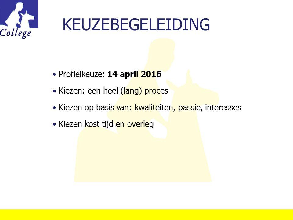 KEUZEBEGELEIDING Profielkeuze: 14 april 2016 Kiezen: een heel (lang) proces Kiezen op basis van: kwaliteiten, passie, interesses Kiezen kost tijd en o