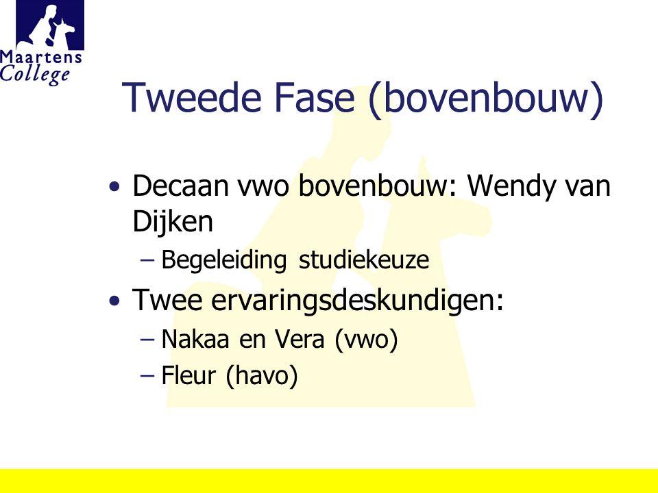 Tweede Fase (bovenbouw) Decaan vwo bovenbouw: Wendy van Dijken –Begeleiding studiekeuze Twee ervaringsdeskundigen: –Nakaa en Vera (vwo) –Fleur (havo)