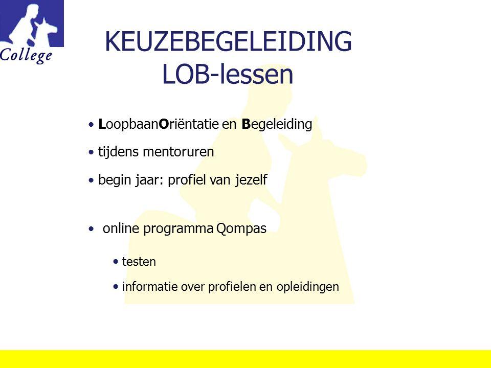 KEUZEBEGELEIDING LOB-lessen LoopbaanOriëntatie en Begeleiding tijdens mentoruren begin jaar: profiel van jezelf online programma Qompas testen informa