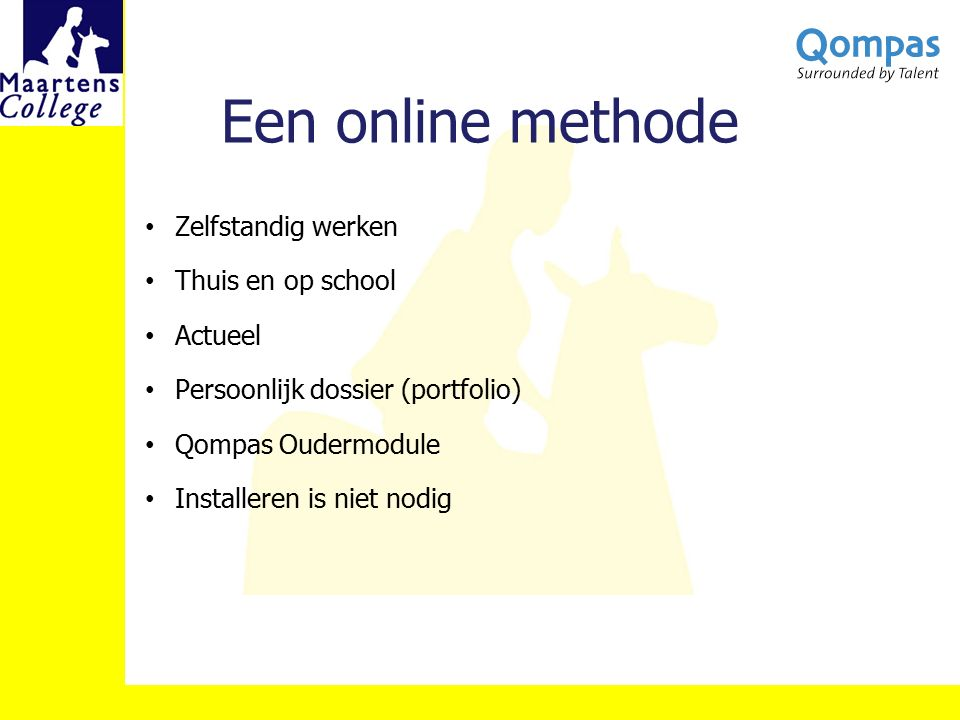 Een online methode Zelfstandig werken Thuis en op school Actueel Persoonlijk dossier (portfolio) Qompas Oudermodule Installeren is niet nodig