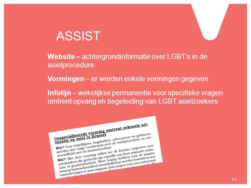 ASSIST Website – achtergrondinformatie over LGBT's in de asielprocedure Vormingen – er werden enkele vormingen gegeven Infolijn – wekelijkse permanentie voor specifieke vragen omtrent opvang en begeleiding van LGBT asielzoekers 13