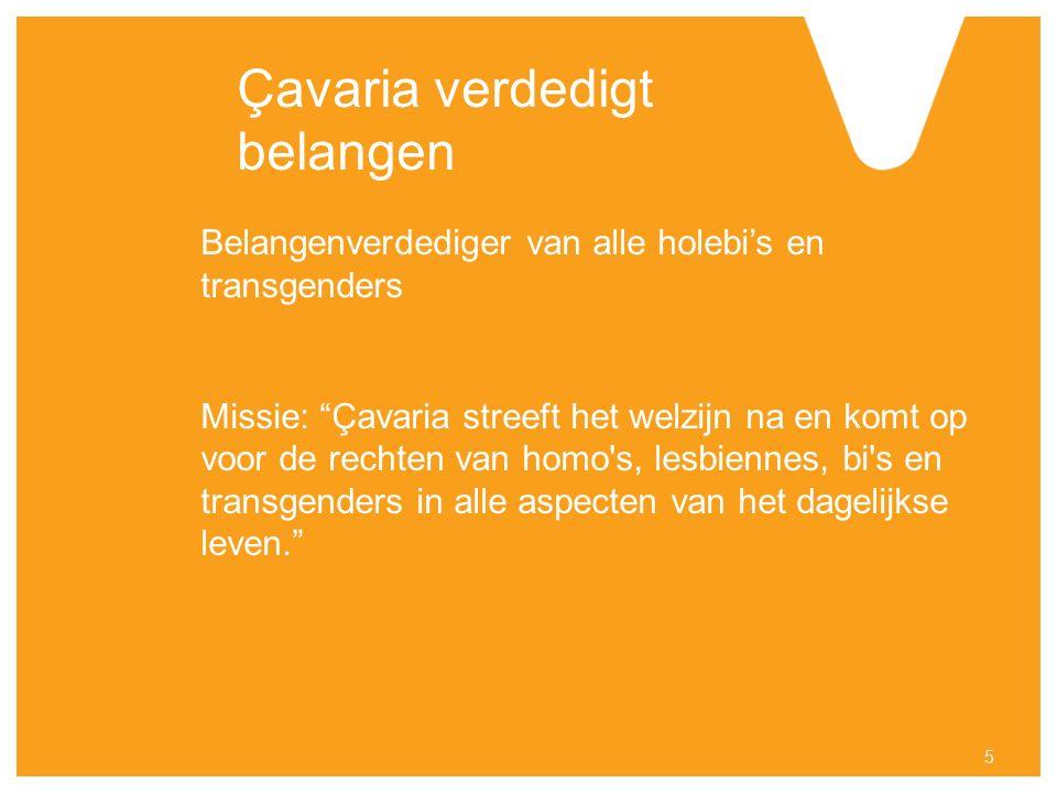 Çavaria verdedigt belangen Belangenverdediger van alle holebi's en transgenders Missie: Çavaria streeft het welzijn na en komt op voor de rechten van homo s, lesbiennes, bi s en transgenders in alle aspecten van het dagelijkse leven. 5