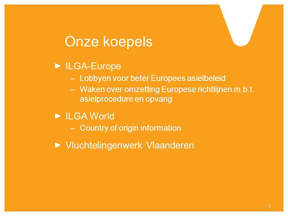 Onze koepels ILGA-Europe –Lobbyen voor beter Europees asielbeleid –Waken over omzetting Europese richtlijnen m.b.t.