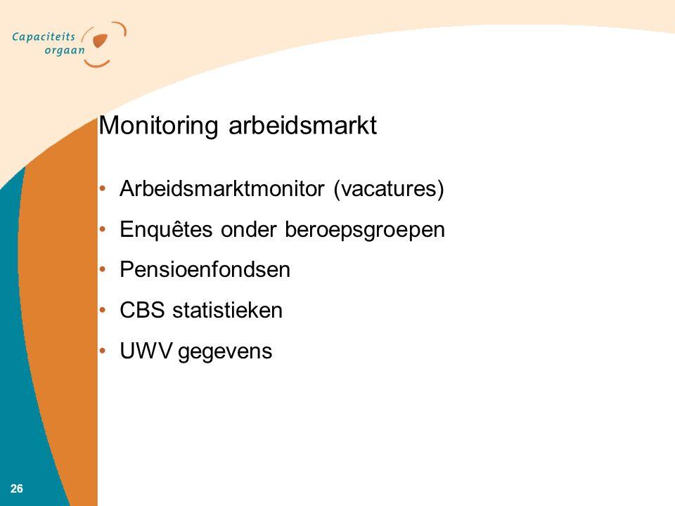 Monitoring arbeidsmarkt Arbeidsmarktmonitor (vacatures) Enquêtes onder beroepsgroepen Pensioenfondsen CBS statistieken UWV gegevens 26