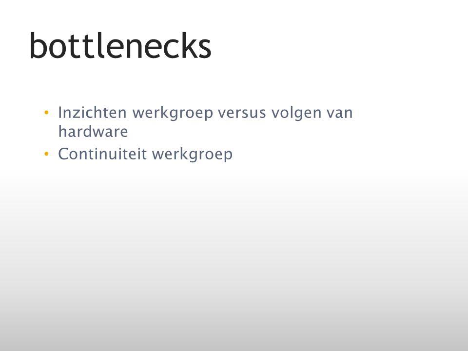 Inzichten werkgroep versus volgen van hardware Continuiteit werkgroep bottlenecks