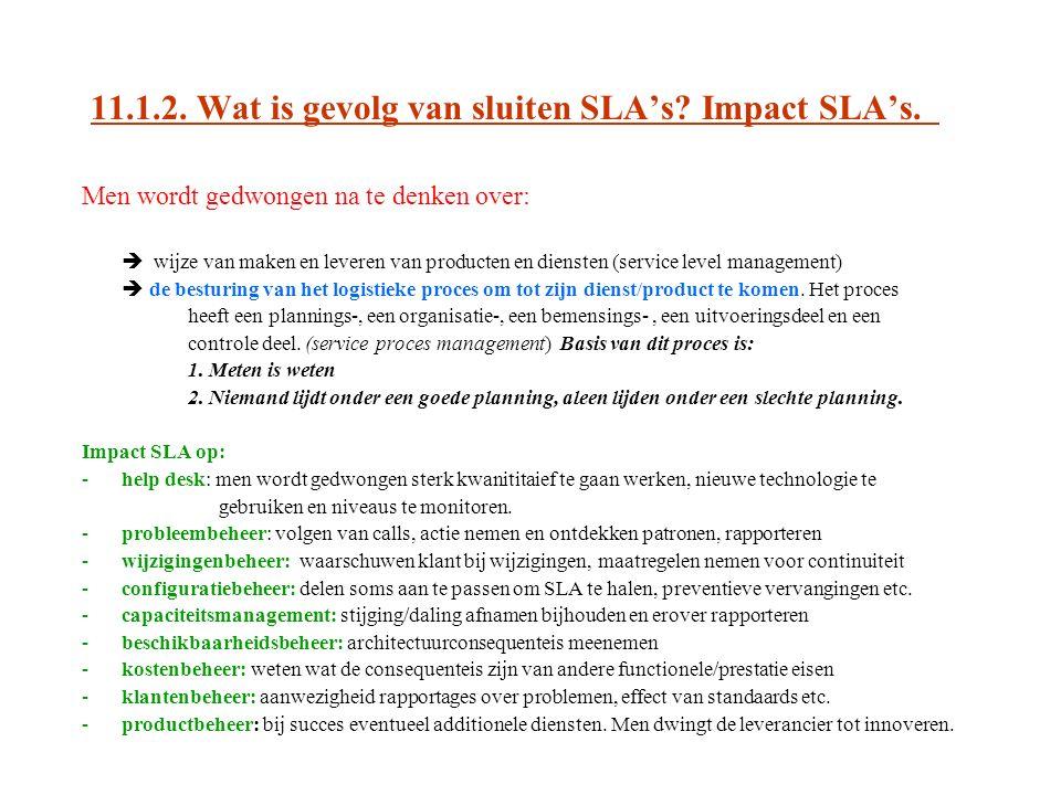11.1.2. Wat is gevolg van sluiten SLA's? Impact SLA's. Men wordt gedwongen na te denken over:  wijze van maken en leveren van producten en diensten (