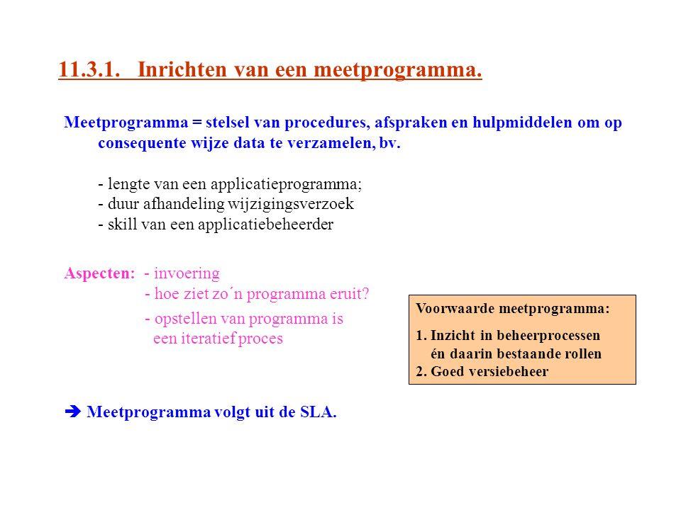 11.3.1. Inrichten van een meetprogramma. Meetprogramma = stelsel van procedures, afspraken en hulpmiddelen om op consequente wijze data te verzamelen,