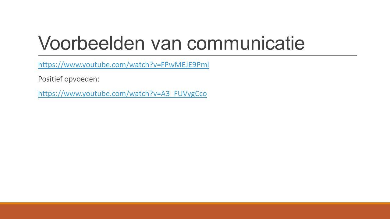 Voorbeelden van communicatie https://www.youtube.com/watch?v=FPwMEJE9PmI Positief opvoeden: https://www.youtube.com/watch?v=A3_FUVygCco