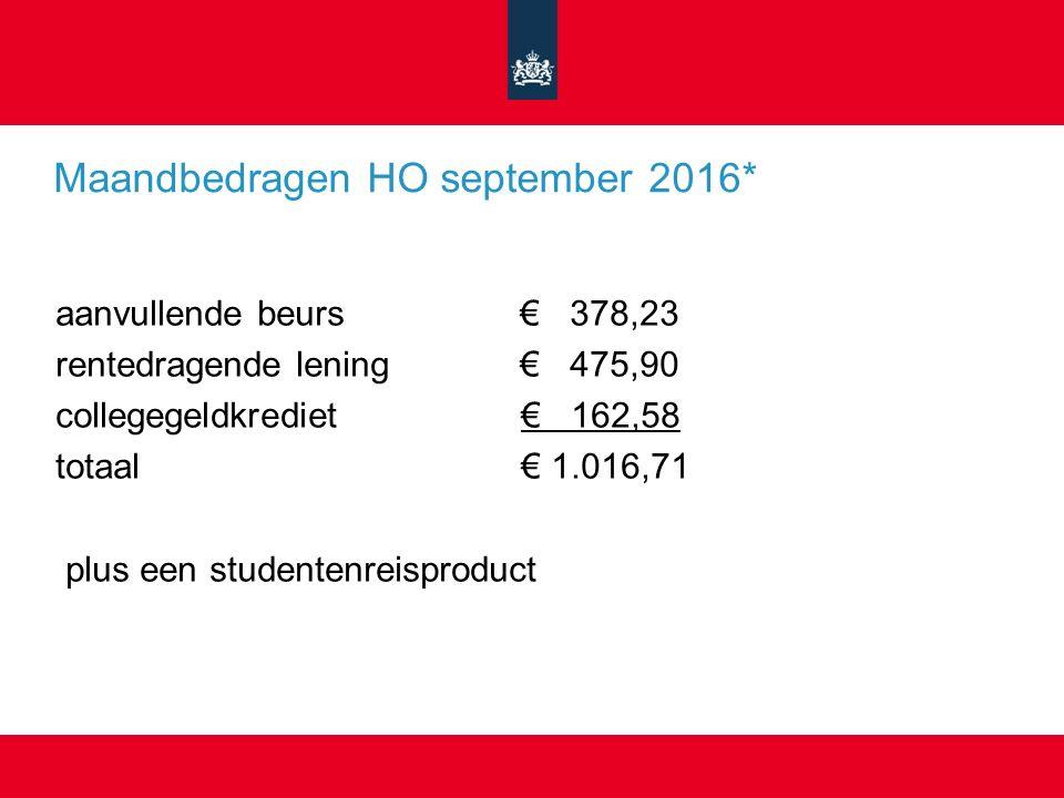 Maandbedragen HO september 2016* aanvullende beurs € 378,23 rentedragende lening € 475,90 collegegeldkrediet € 162,58 totaal € 1.016,71 plus een studentenreisproduct
