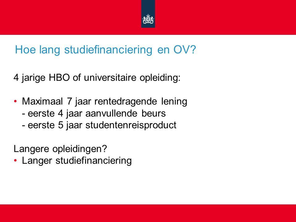 Hoe lang studiefinanciering en OV.