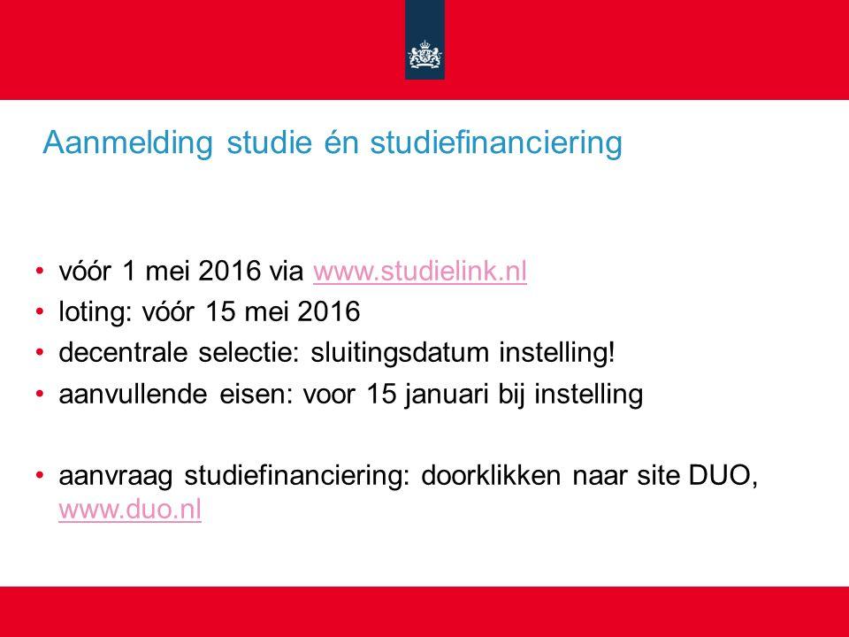 Aanmelding studie én studiefinanciering vóór 1 mei 2016 via www.studielink.nlwww.studielink.nl loting: vóór 15 mei 2016 decentrale selectie: sluitingsdatum instelling.