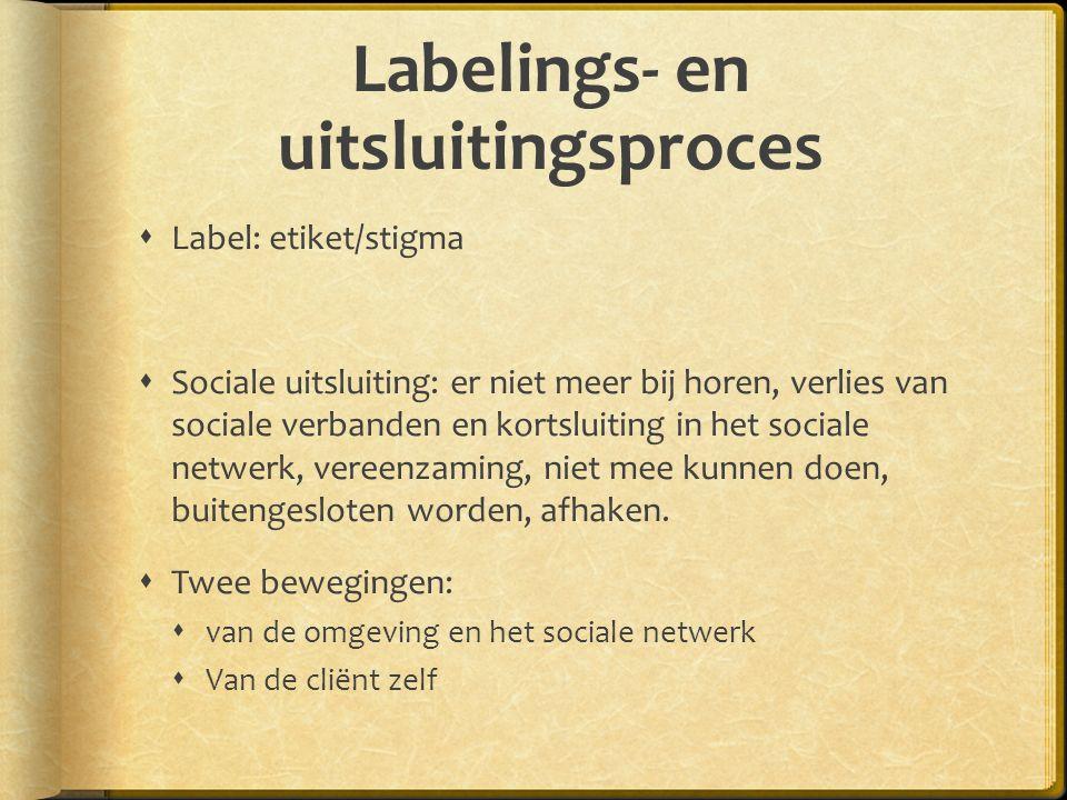 Labelings- en uitsluitingsproces  Label: etiket/stigma  Sociale uitsluiting: er niet meer bij horen, verlies van sociale verbanden en kortsluiting in het sociale netwerk, vereenzaming, niet mee kunnen doen, buitengesloten worden, afhaken.