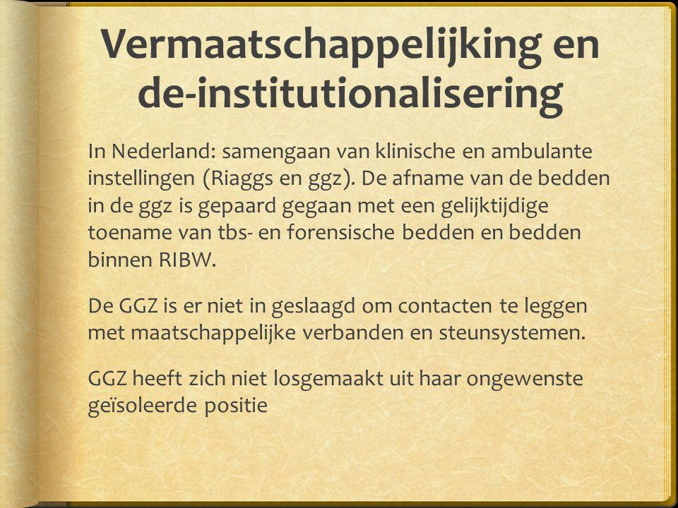 Vermaatschappelijking en de-institutionalisering In Nederland: samengaan van klinische en ambulante instellingen (Riaggs en ggz).