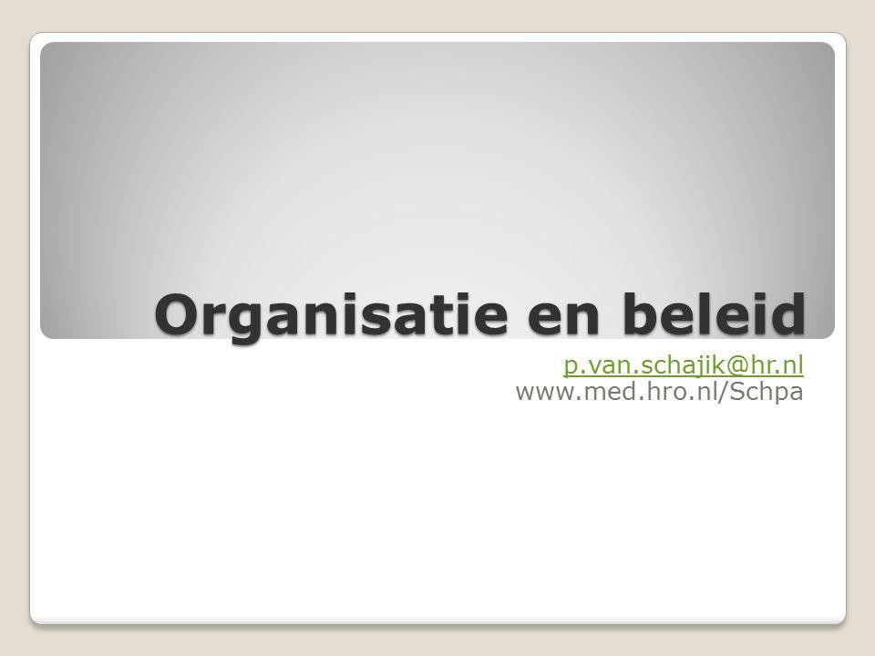 Organisatie en beleid p.van.schajik@hr.nl www.med.hro.nl/Schpa