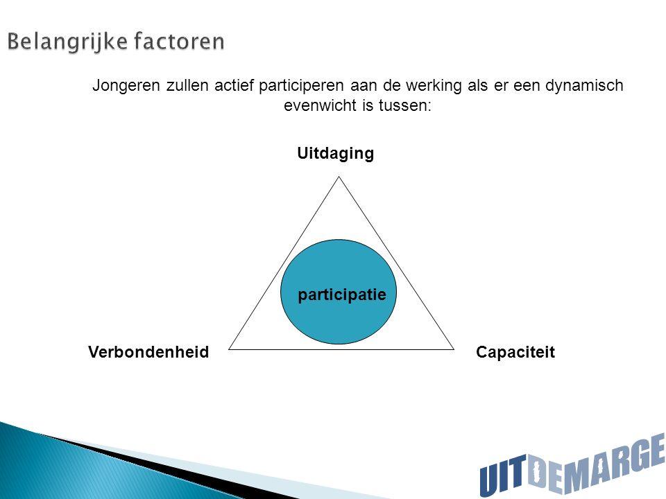 Belangrijke factoren VerbondenheidCapaciteit participatie Uitdaging Jongeren zullen actief participeren aan de werking als er een dynamisch evenwicht