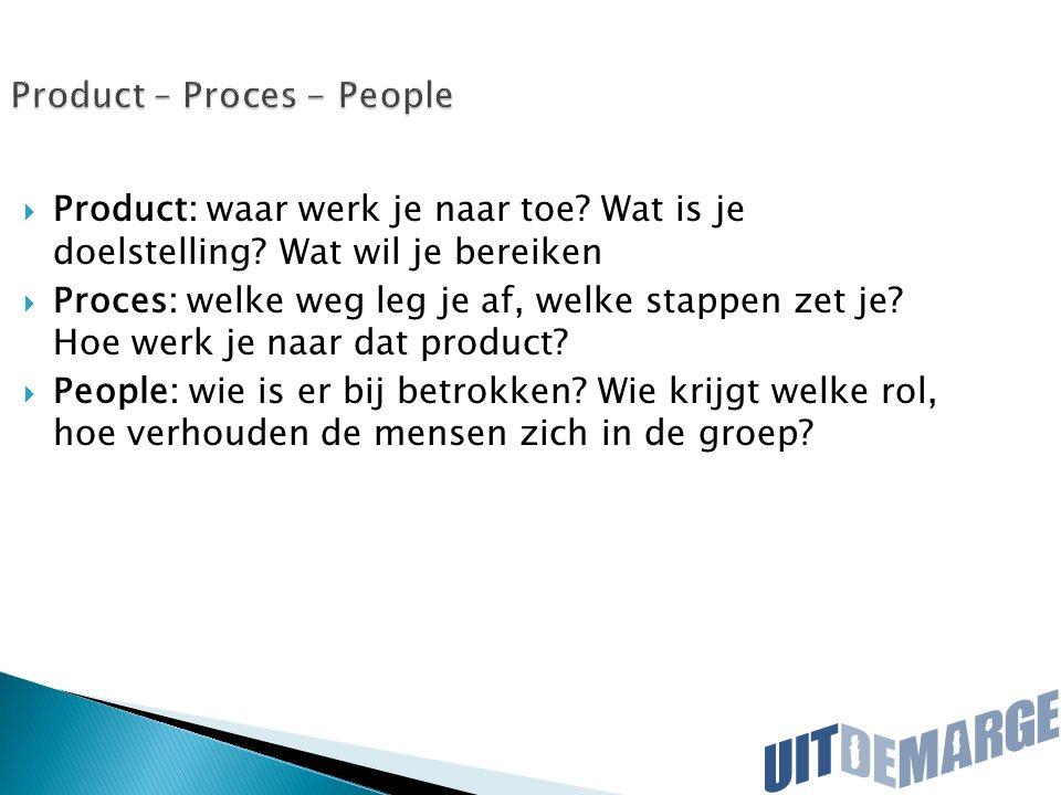 Product – Proces - People  Product: waar werk je naar toe? Wat is je doelstelling? Wat wil je bereiken  Proces: welke weg leg je af, welke stappen z