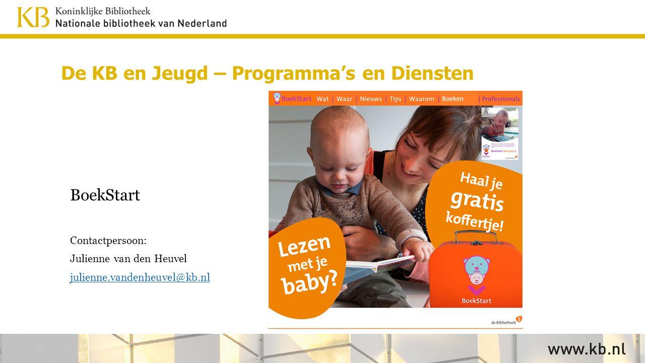 BoekStart Contactpersoon: Julienne van den Heuvel julienne.vandenheuvel@kb.nl De KB en Jeugd – Programma's en Diensten