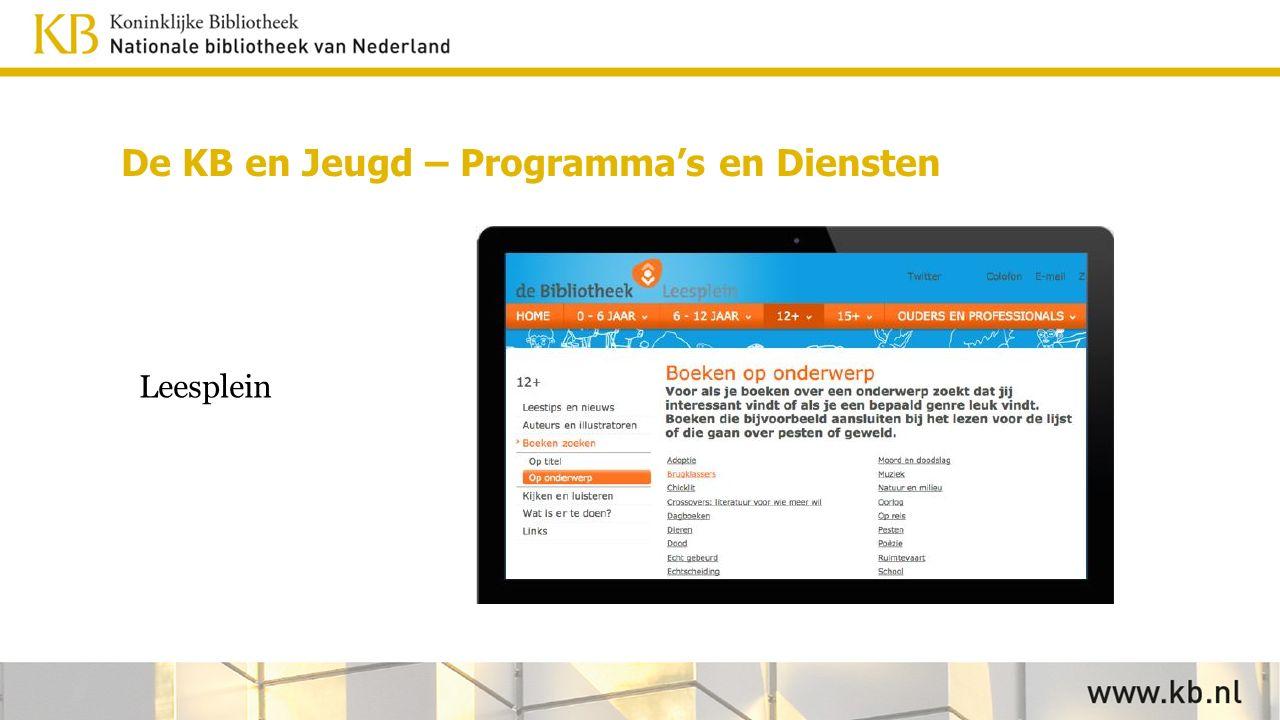 Leesplein De KB en Jeugd – Programma's en Diensten