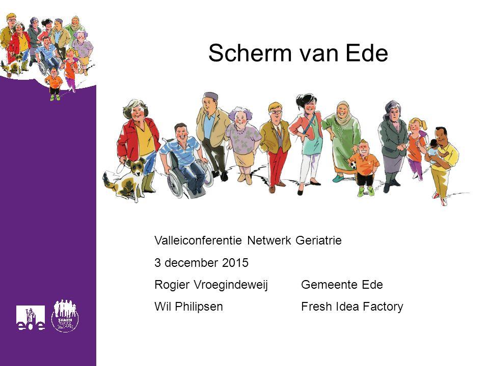 Scherm van Ede Valleiconferentie Netwerk Geriatrie 3 december 2015 Rogier VroegindeweijGemeente Ede Wil PhilipsenFresh Idea Factory