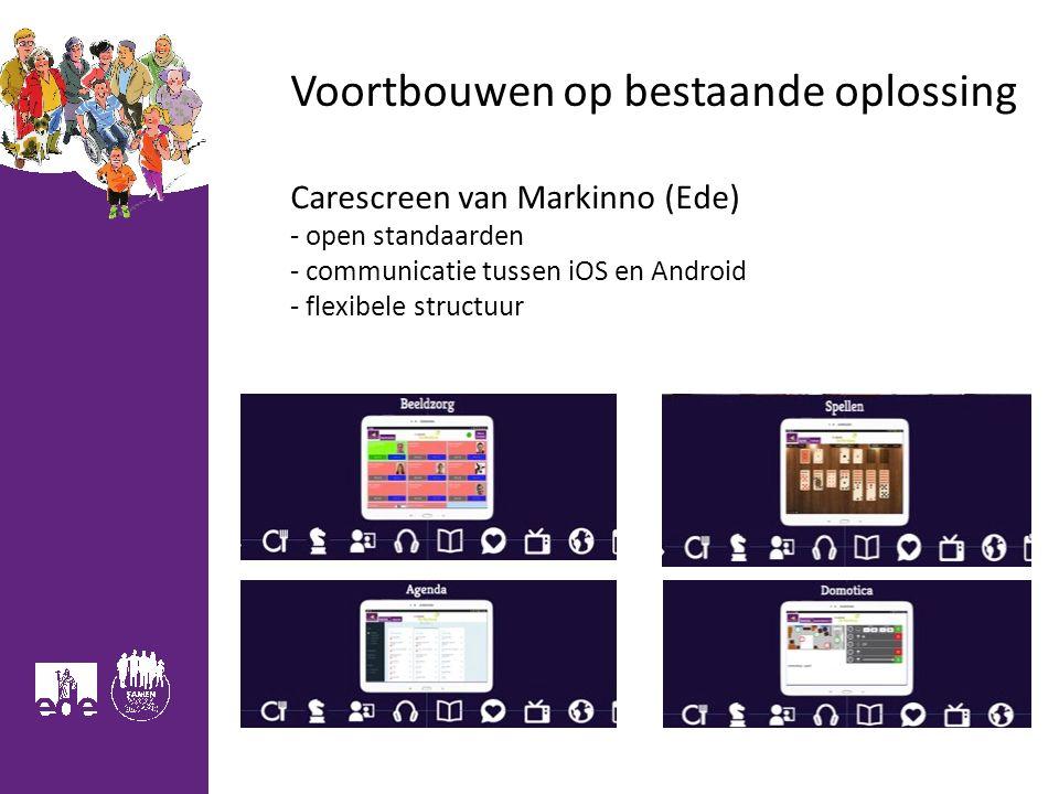 Voortbouwen op bestaande oplossing Carescreen van Markinno (Ede) - open standaarden - communicatie tussen iOS en Android - flexibele structuur