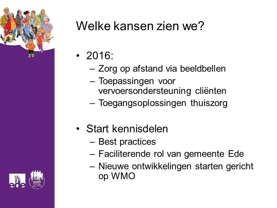Welke kansen zien we? 2016: –Zorg op afstand via beeldbellen –Toepassingen voor vervoersondersteuning cliënten –Toegangsoplossingen thuiszorg Start ke