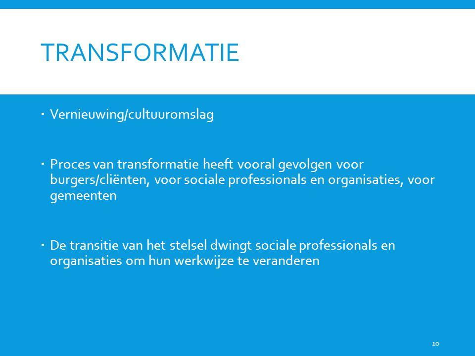TRANSFORMATIE  Vernieuwing/cultuuromslag  Proces van transformatie heeft vooral gevolgen voor burgers/cliënten, voor sociale professionals en organi