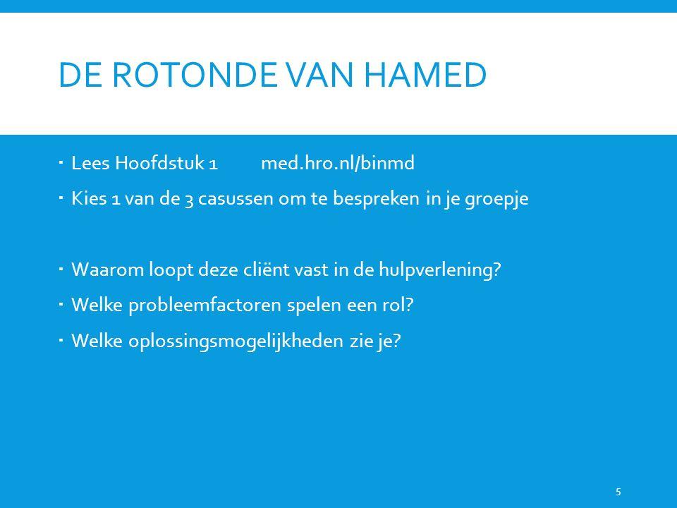 DE ROTONDE VAN HAMED  Lees Hoofdstuk 1med.hro.nl/binmd  Kies 1 van de 3 casussen om te bespreken in je groepje  Waarom loopt deze cliënt vast in de