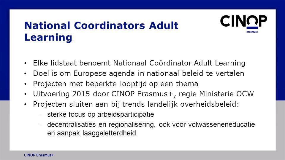 Partners: - Leerwerkloketten - Stichting Lezen & Schrijven Doel: -Komen tot een sterke regionale infrastructuur waarin aanpak laaggeletterdheid en ve worden verbonden aan participatiedoelstellingen en regionaal arbeidsmarktbeleid Pilotregio's: Twente, Friesland en West-Brabant Projectplan NC AL 2015 CINOP Erasmus+