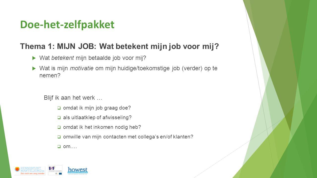 Doe-het-zelfpakket Thema 1: MIJN JOB: Wat betekent mijn job voor mij?  Wat betekent mijn betaalde job voor mij?  Wat is mijn motivatie om mijn huidi