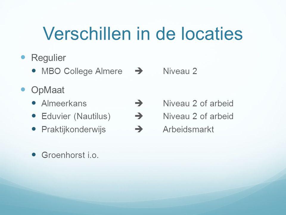 Verschillen in de locaties Regulier MBO College Almere  Niveau 2 OpMaat Almeerkans  Niveau 2 of arbeid Eduvier (Nautilus)  Niveau 2 of arbeid Praktijkonderwijs  Arbeidsmarkt Groenhorst i.o.