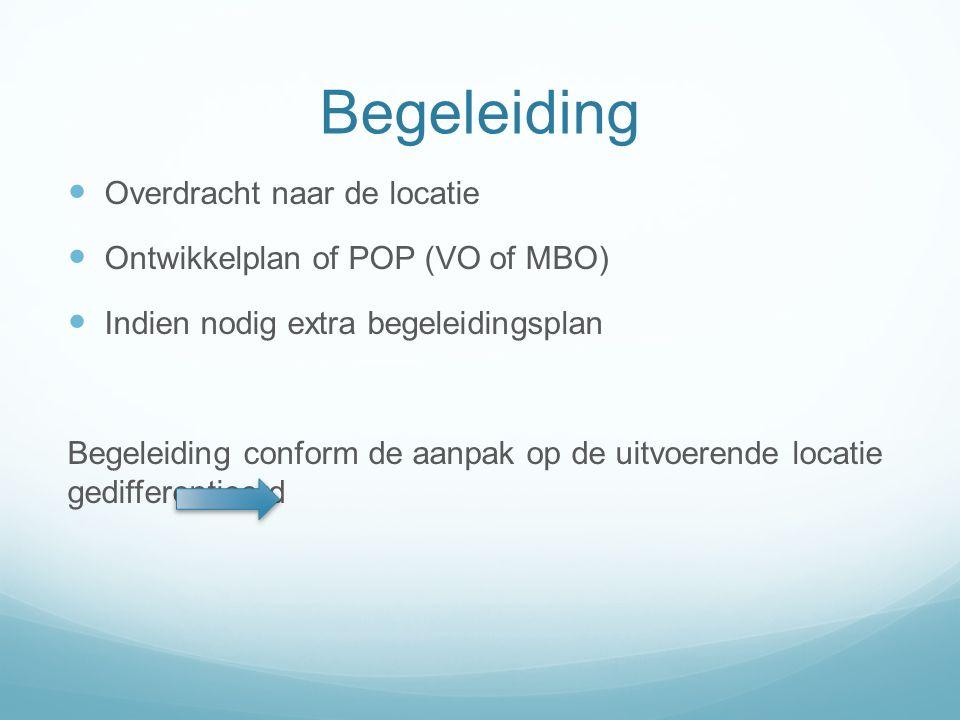 Begeleiding Overdracht naar de locatie Ontwikkelplan of POP (VO of MBO) Indien nodig extra begeleidingsplan Begeleiding conform de aanpak op de uitvoerende locatie gedifferentieerd
