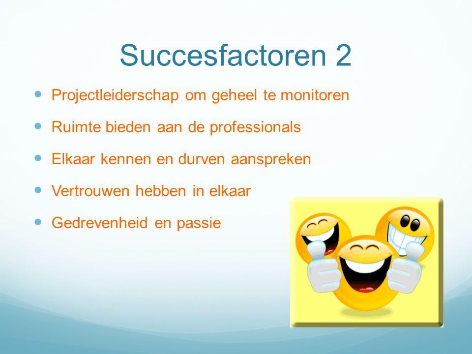 Succesfactoren 2 Projectleiderschap om geheel te monitoren Ruimte bieden aan de professionals Elkaar kennen en durven aanspreken Vertrouwen hebben in elkaar Gedrevenheid en passie
