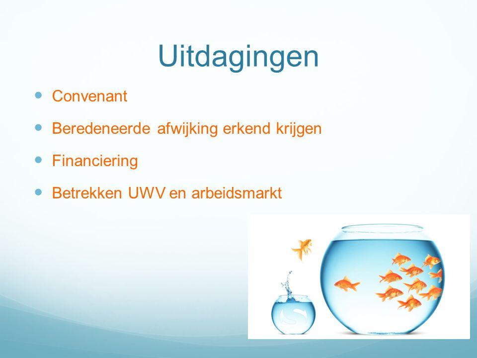 Uitdagingen Convenant Beredeneerde afwijking erkend krijgen Financiering Betrekken UWV en arbeidsmarkt