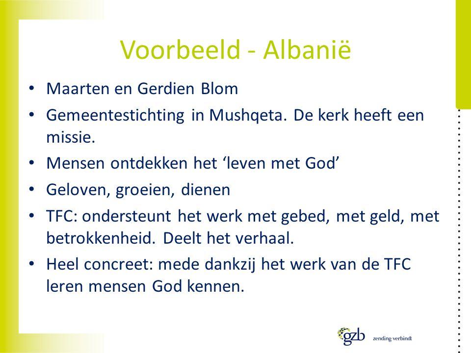 Voorbeeld - Albanië Maarten en Gerdien Blom Gemeentestichting in Mushqeta.