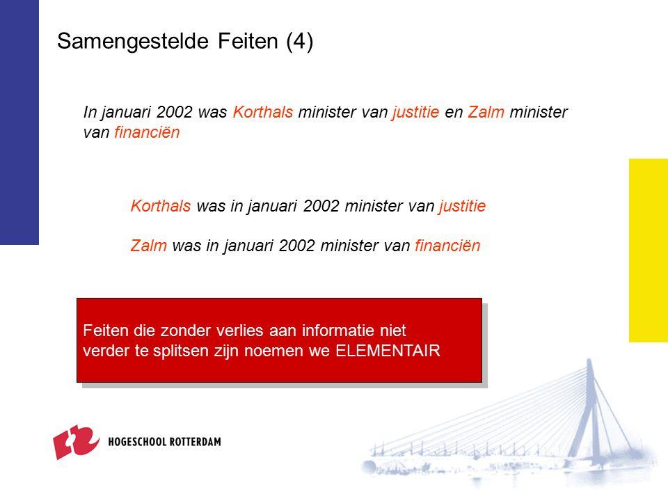 Samengestelde Feiten (4) Korthals was in januari 2002 minister van justitie Zalm was in januari 2002 minister van financiën In januari 2002 was Korthals minister van justitie en Zalm minister van financiën Feiten die zonder verlies aan informatie niet verder te splitsen zijn noemen we ELEMENTAIR