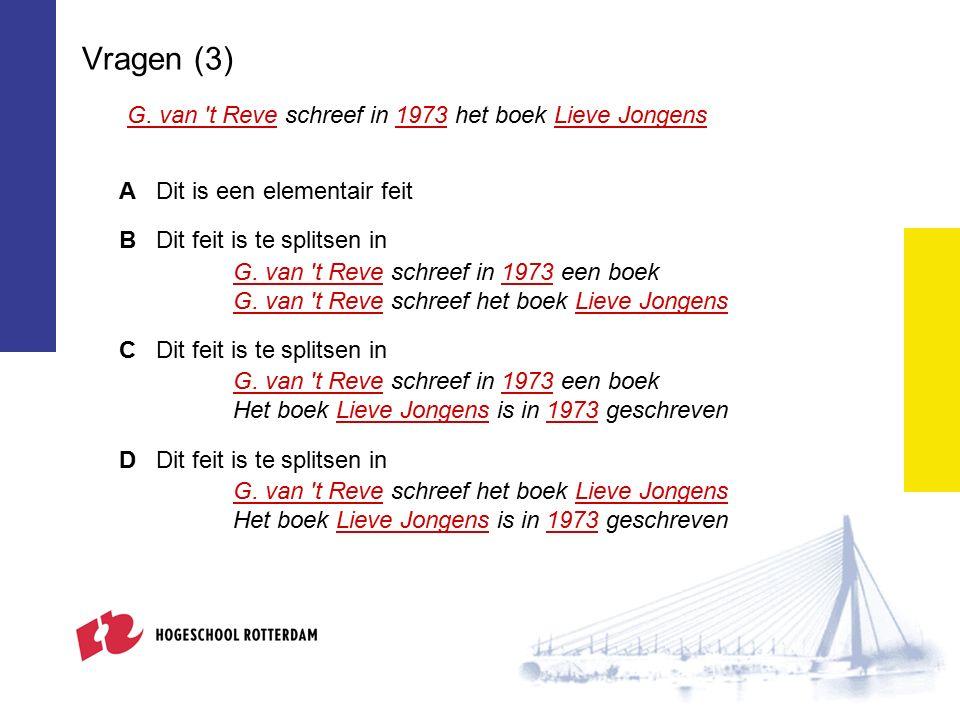 Vragen (3) G. van 't Reve schreef in 1973 het boek Lieve Jongens ADit is een elementair feit BDit feit is te splitsen in G. van 't Reve schreef in 197