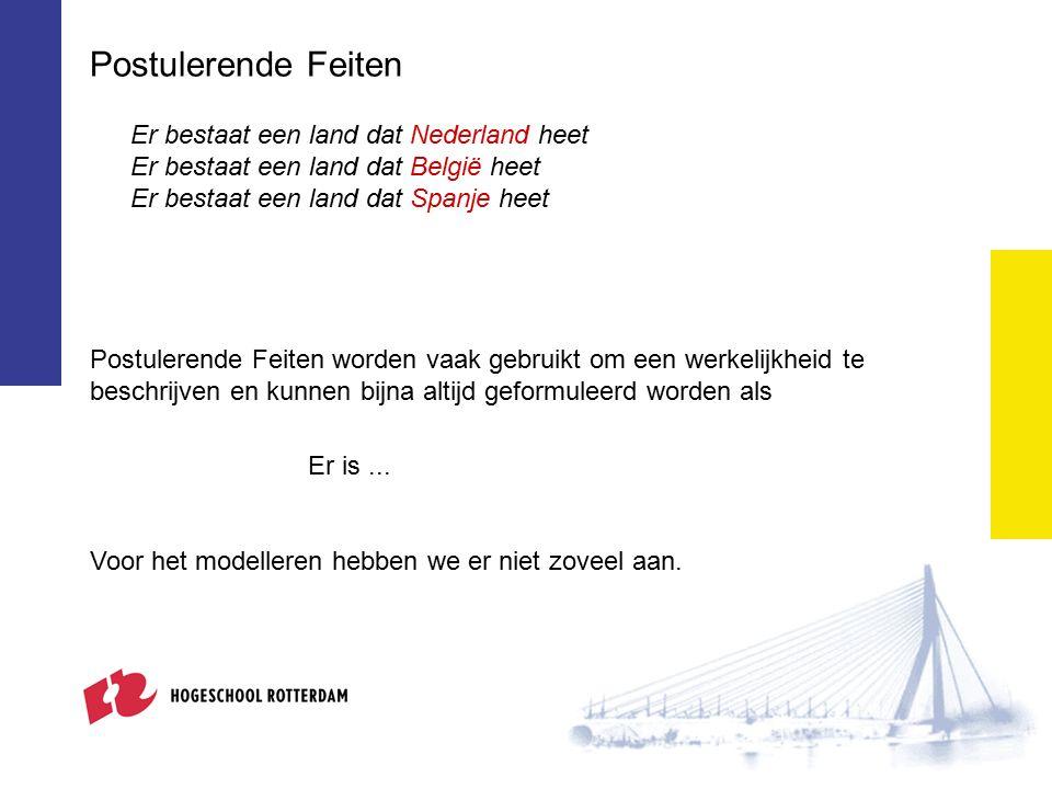 Postulerende Feiten Er bestaat een land dat Nederland heet Er bestaat een land dat België heet Er bestaat een land dat Spanje heet Postulerende Feiten worden vaak gebruikt om een werkelijkheid te beschrijven en kunnen bijna altijd geformuleerd worden als Er is...