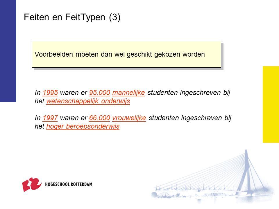 Feiten en FeitTypen (4) Feiten met dezelfde betekenis kunnen op verschillende manieren geformuleerd worden.