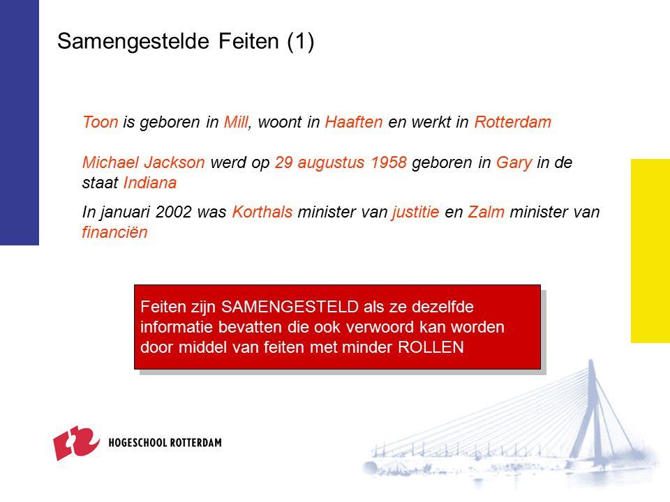 Samengestelde Feiten (1) Toon is geboren in Mill, woont in Haaften en werkt in Rotterdam In januari 2002 was Korthals minister van justitie en Zalm mi